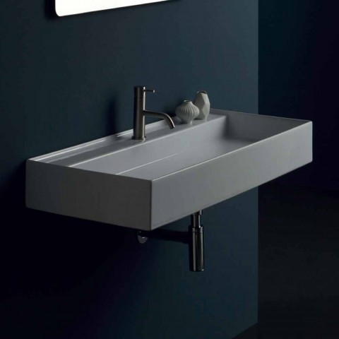 modern ceramic suspended washbasin sun 100x45 cm made in italy