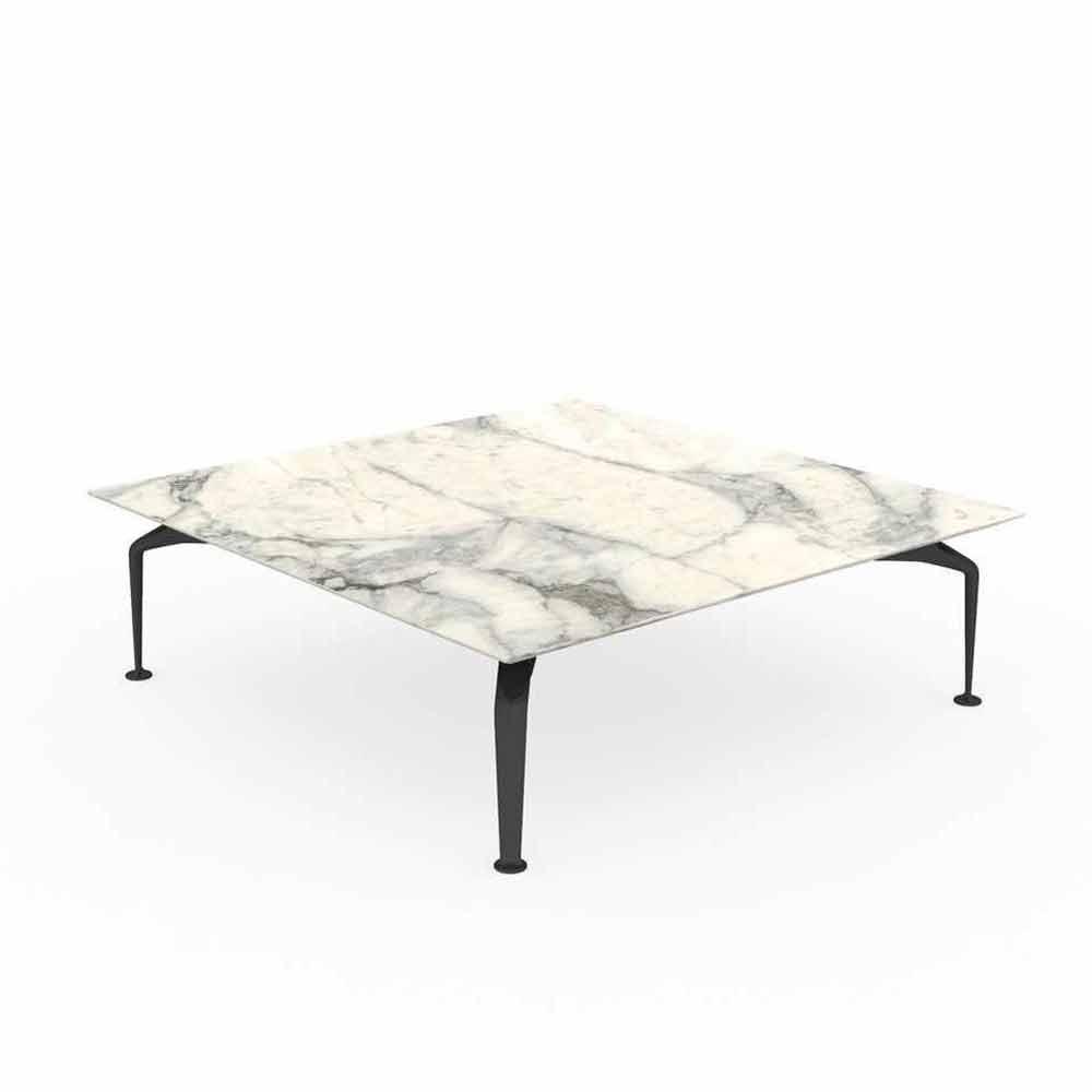 table basse design carree exterieure en gres calacatta cruise alu talenti
