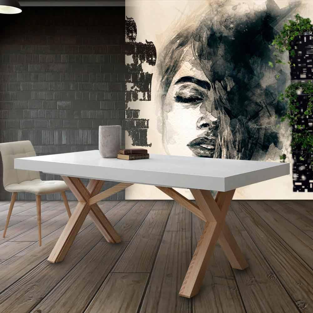 Table extensible de salle  manger blanche en bois massif Rico