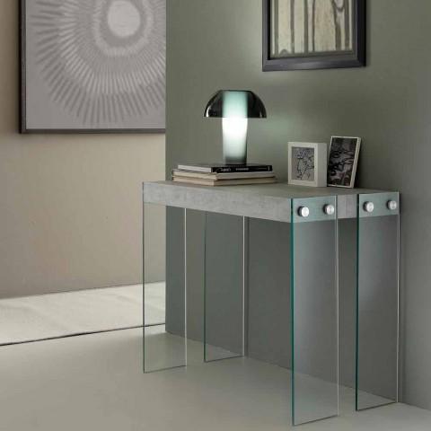 console extensible de design moderne avec pieds en verre trempe miss
