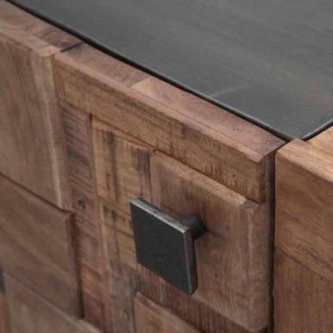 buffet design en bois d acacia et fer avec 2 portes et 2 tiroirs dalya