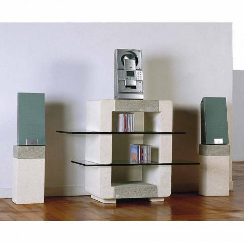 meuble tv hi fi en pierre de vicenza et cristal xeni fait en italie