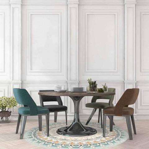 tapis rond en vinyle a motifs de style moderne pour la cuisine rondeo