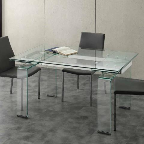 table extensible avec plateau en verre trempe lord