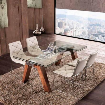table extensible de salle a manger en bois massif et verre trempe chad