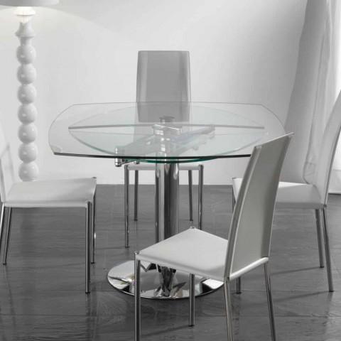 table de salle a manger extensible en verre trempe transparent onda