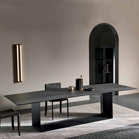 table de salle a manger en ceramique de pierre de savoie anthracite fabriquee en italie brun fonce