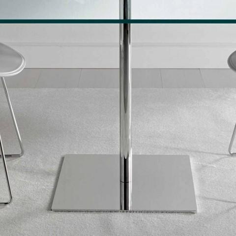 table de salle a manger carree en verre extralight et metal made in italy dolce