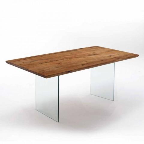 table de salle a manger en bois massif avec pieds en verre trempe tito