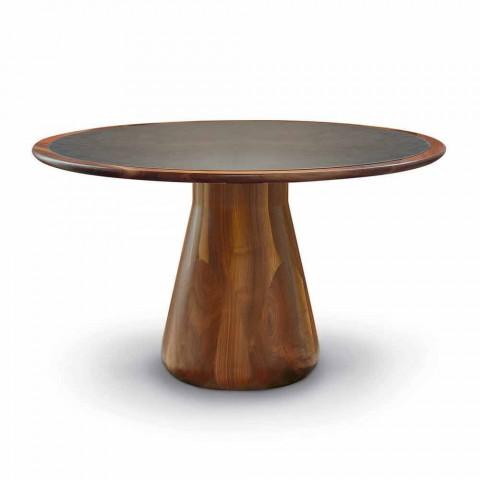 table ronde avec plateau en bois massif de noyer naturel carlo