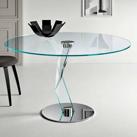 table ronde de design moderne en verre extra clair fabriquee en italie akka
