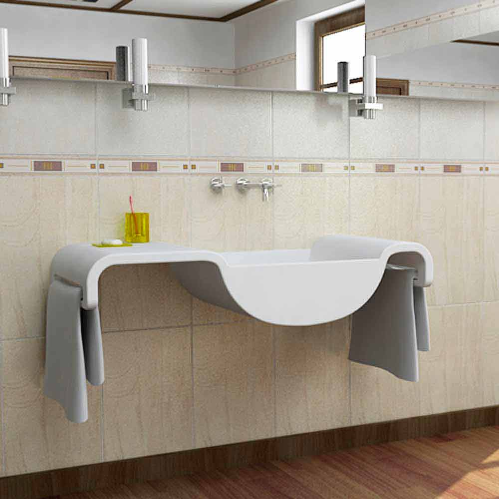 Lavabo sospeso design moderno bianco Onda made in Italy