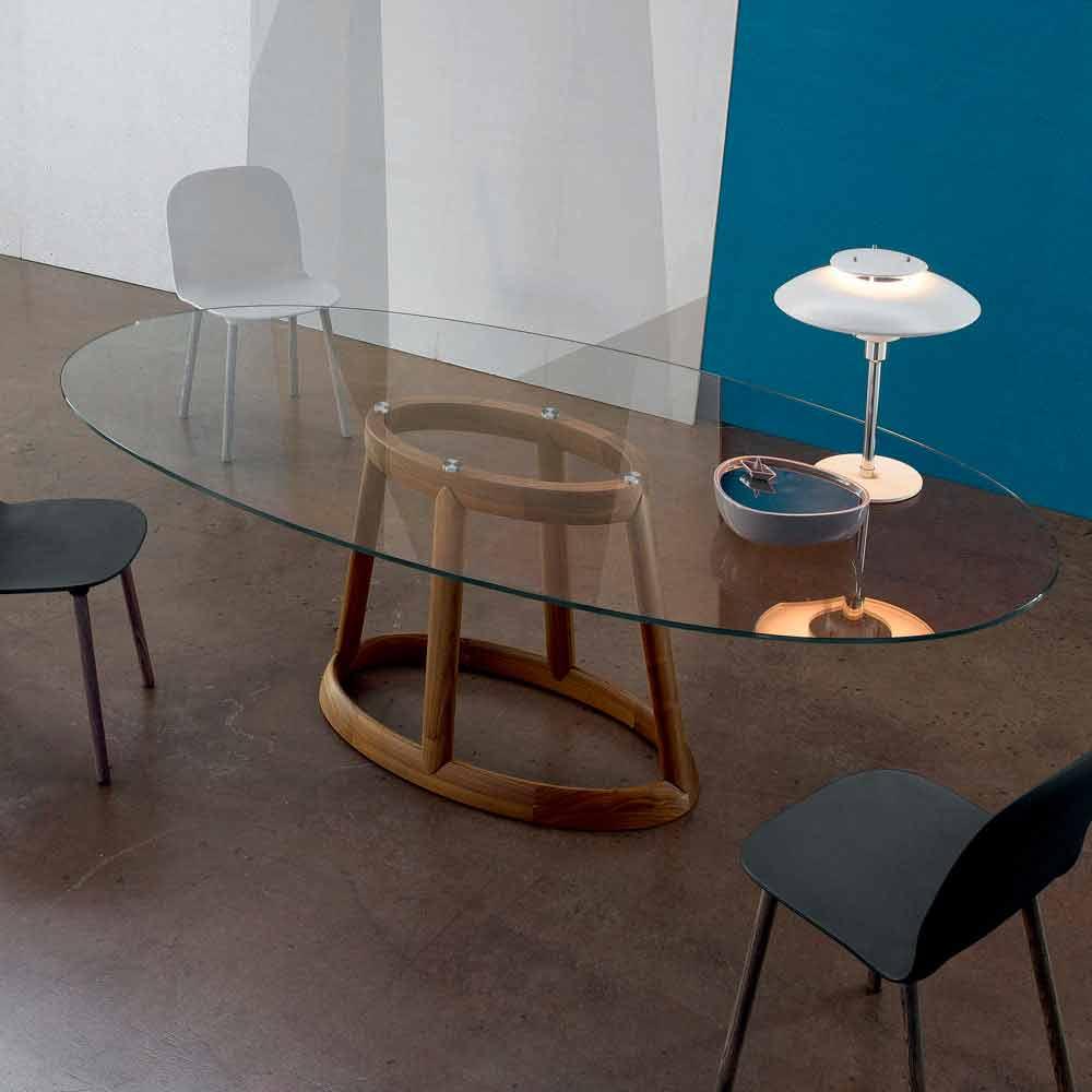 Bonaldo Greeny tavolo ovale di design cristallo e legno