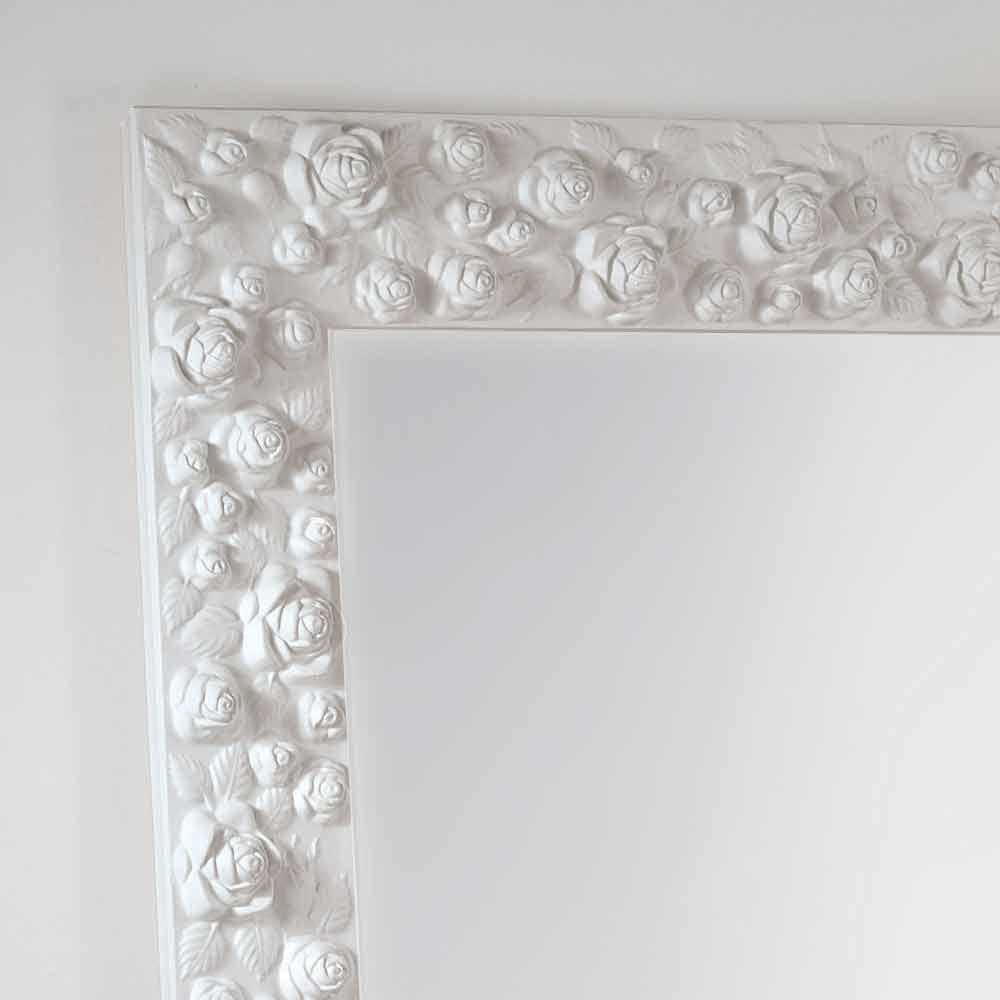 Grande specchiera bianca da terra  muro con cornice in