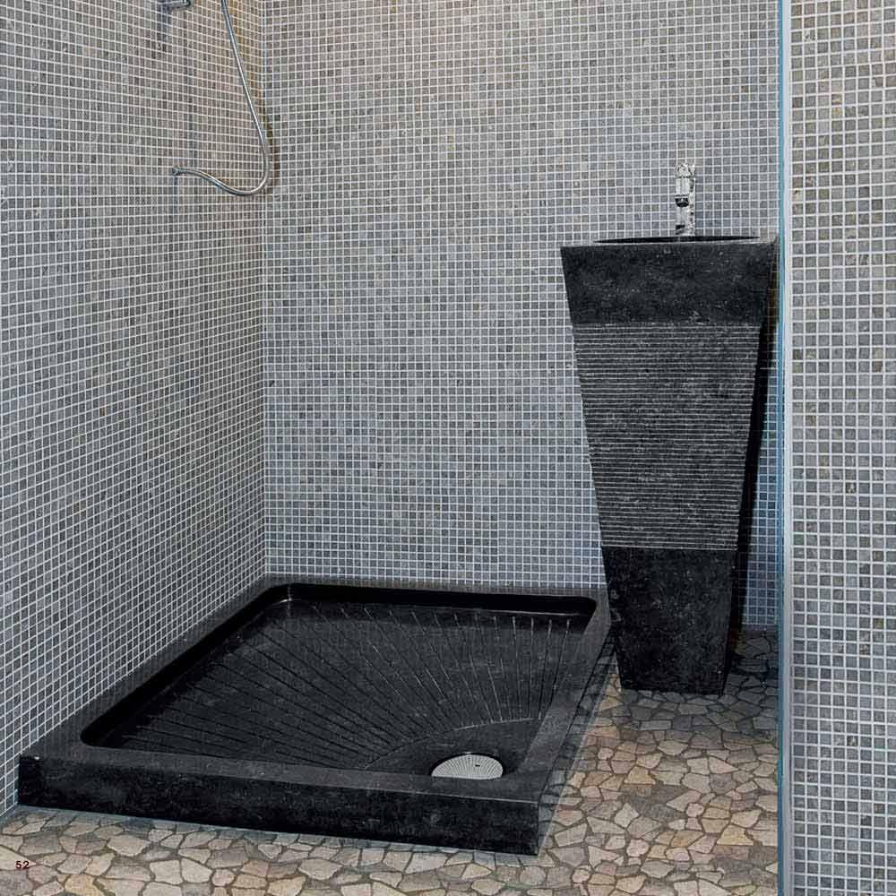 Lavabo a colonna piramidale in pietra naturale nera Nias