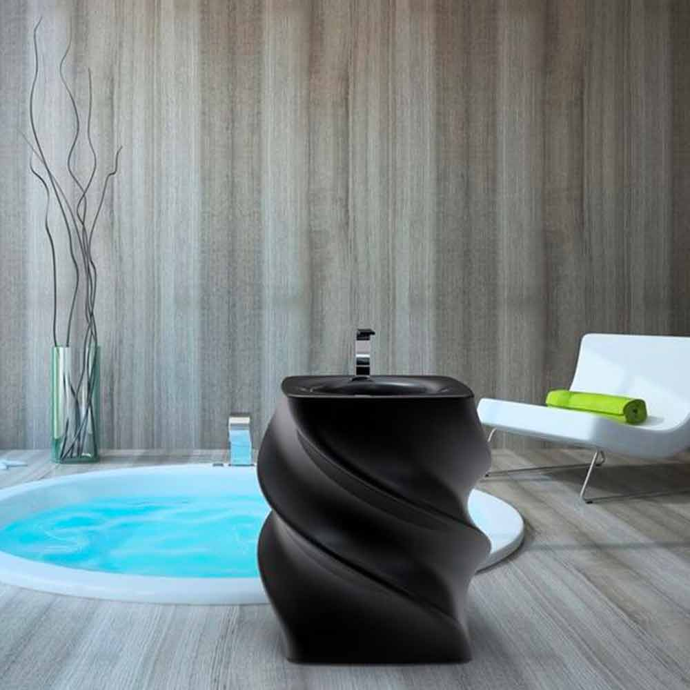 Lavabo nero freestanding design moderno Twist made in Italy
