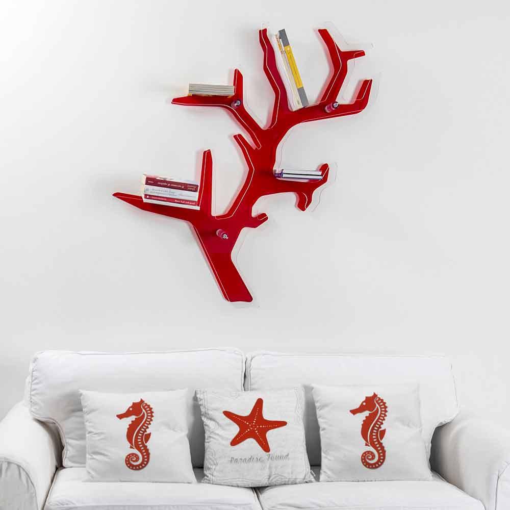 Libreria da parete rossa design moderno Carol made in Italy
