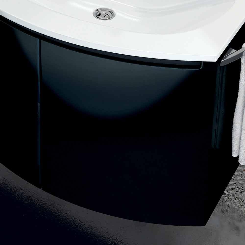 Mobile bagno moderno con lavabo a tre ante in legno laccato nero Gioia