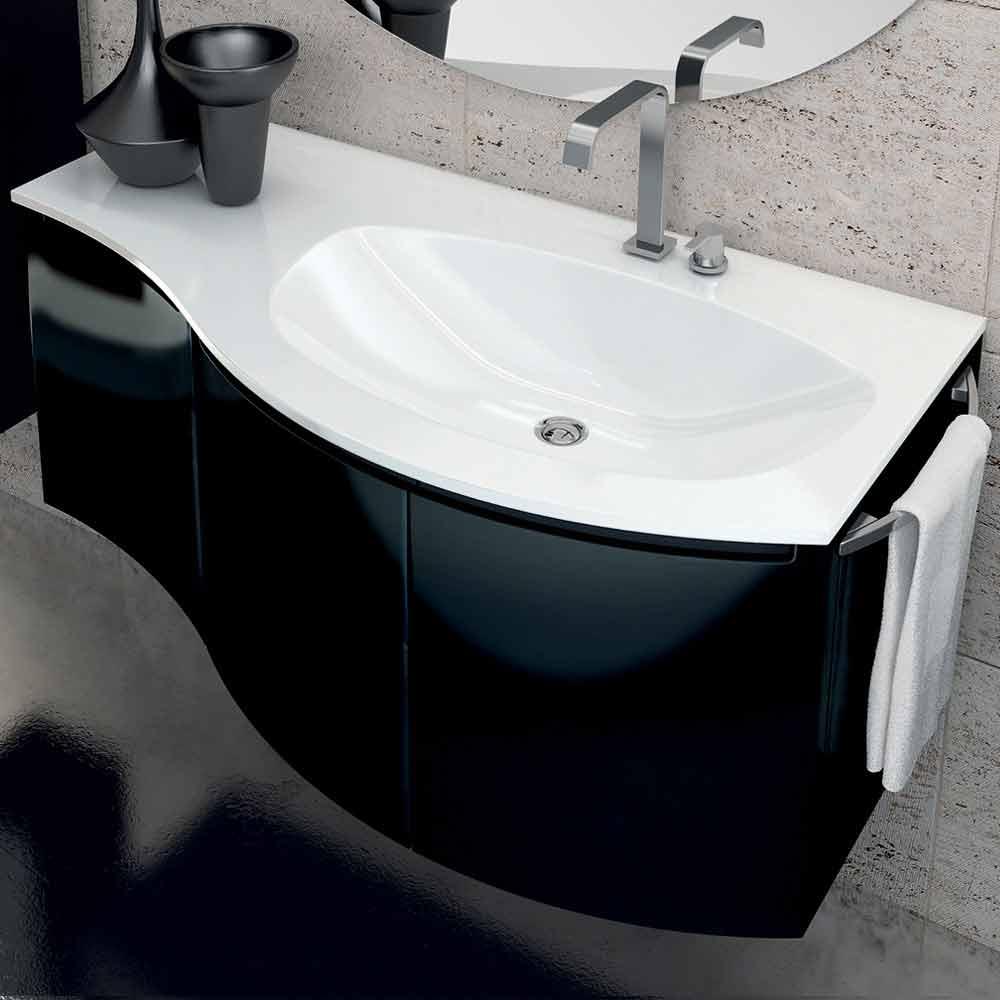 Mobile bagno moderno con lavabo a tre ante in legno