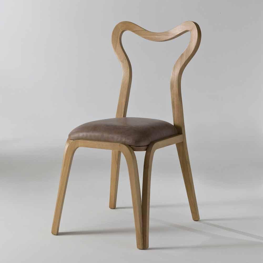 Sedia da pranzo design moderno in legno e pelle l41xp46