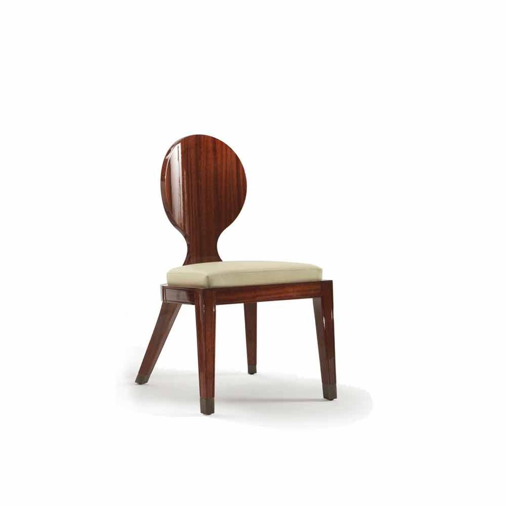 Sedia da pranzo imbottita di design in legno liscio