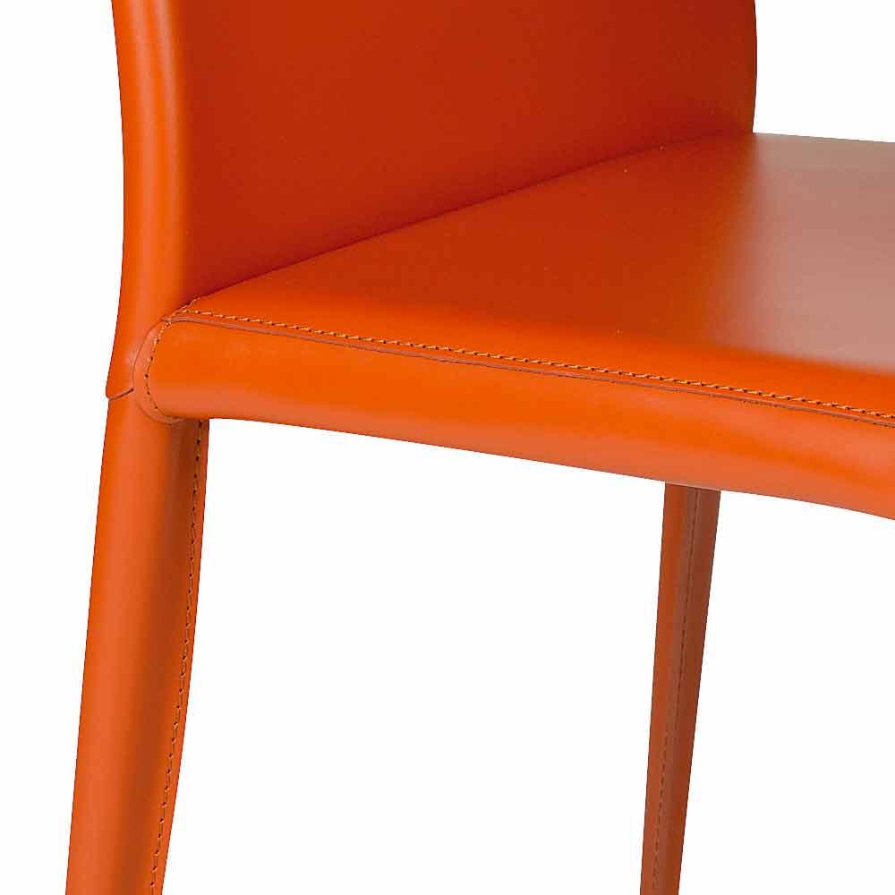 Sedia per sala da pranzo in cuoio design moderno made in