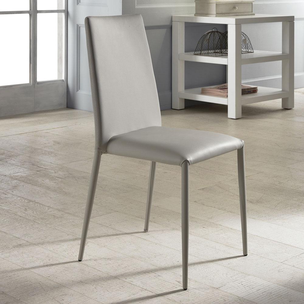 Set 4 sedie moderne in ecopelle bianche grigie o tortora Dora