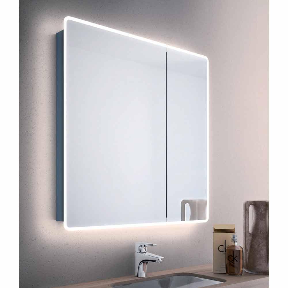 Specchio contenitore moderno a 2 ante da bagno con luci LED Valter