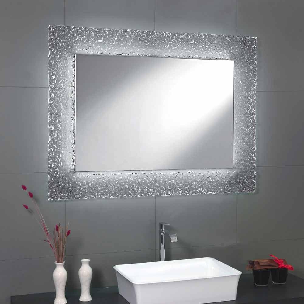 Specchio da bagno moderno con decoro cornice in vetro e