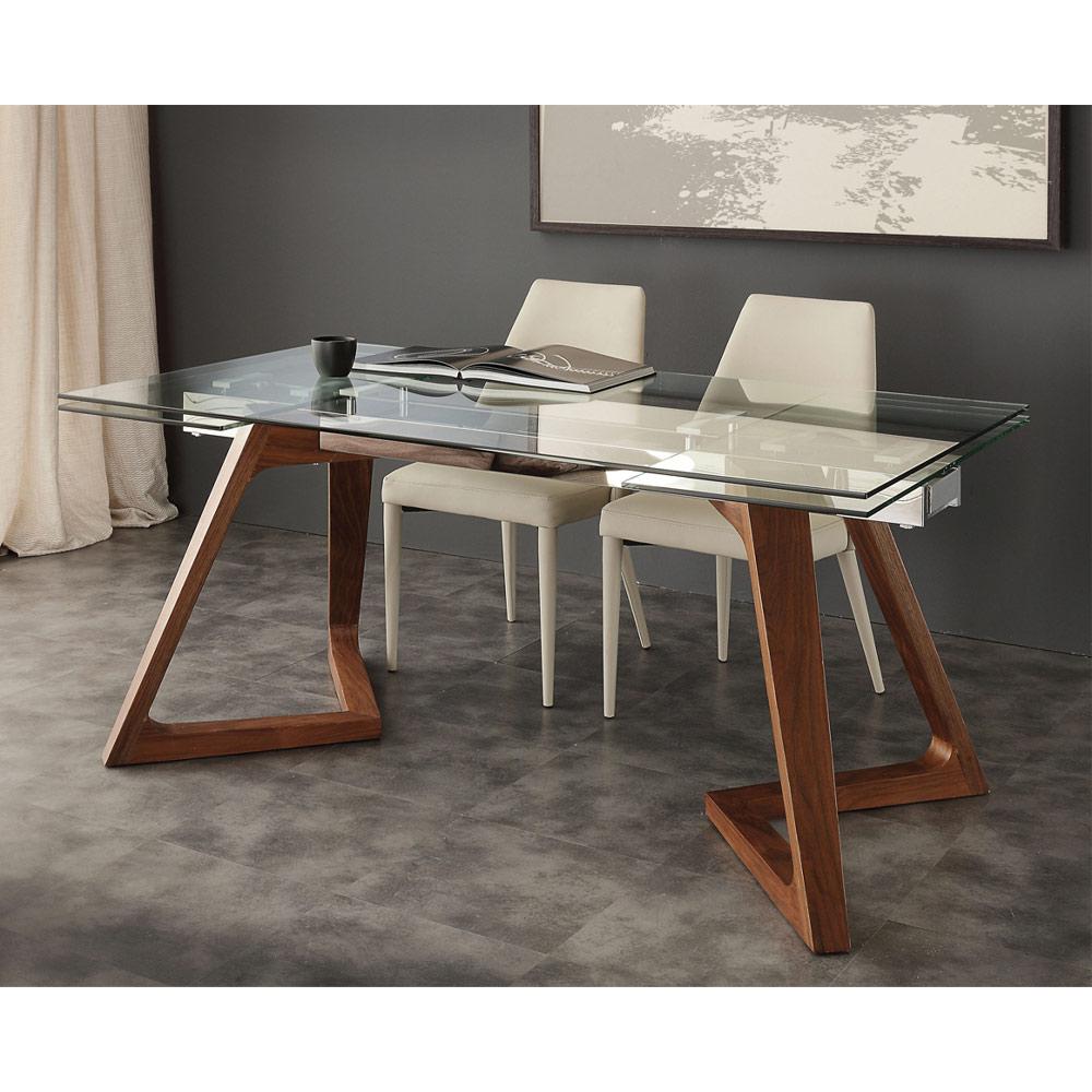 Tavolo allungabile di design con piano in vetro temperato