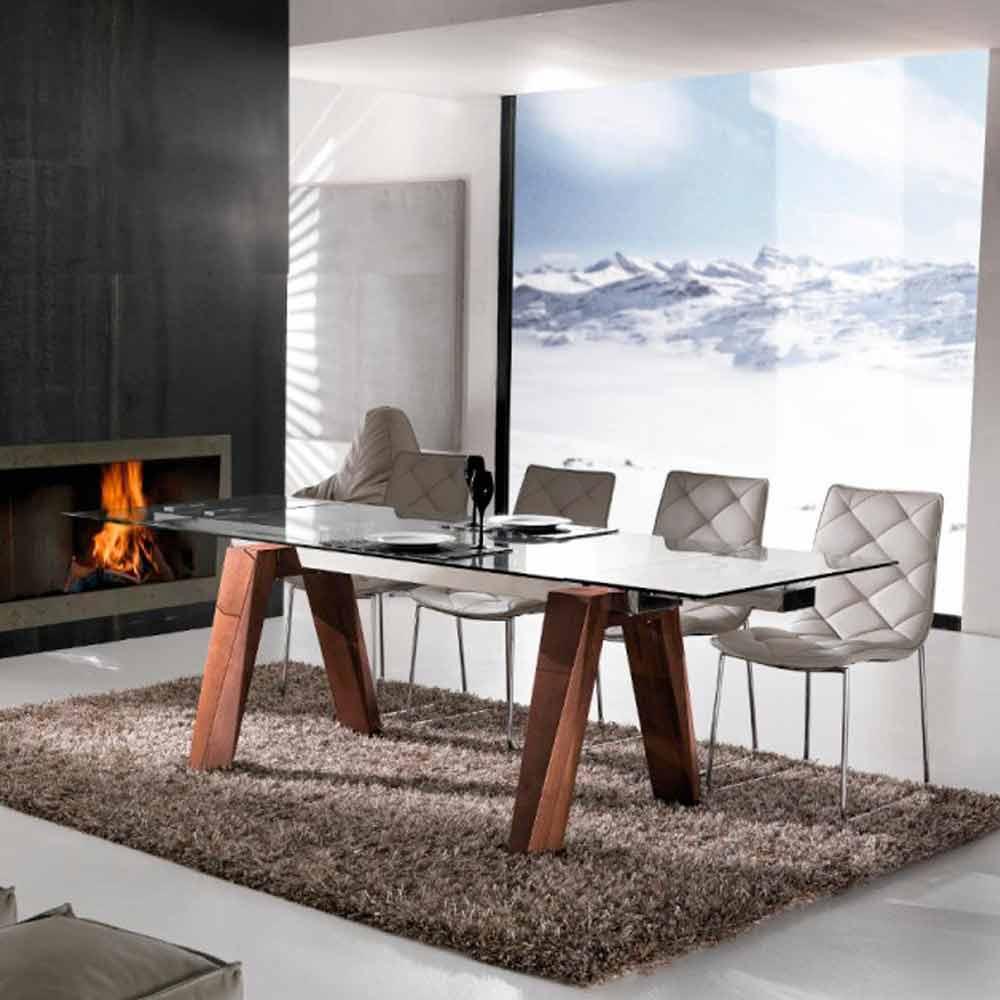 Tavolo allungabile in legno massello e vetro temperato Chad