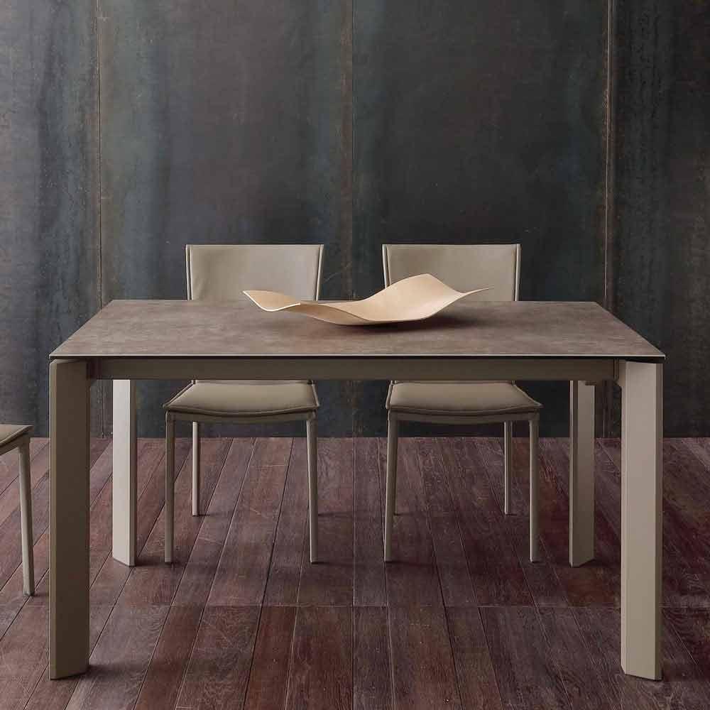 Tavolo allungabile moderno con piano in vetro ceramica