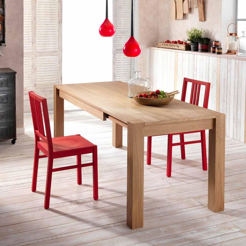 Tavolo da pranzo allungabile in legno di rovere Fedro made in Italy