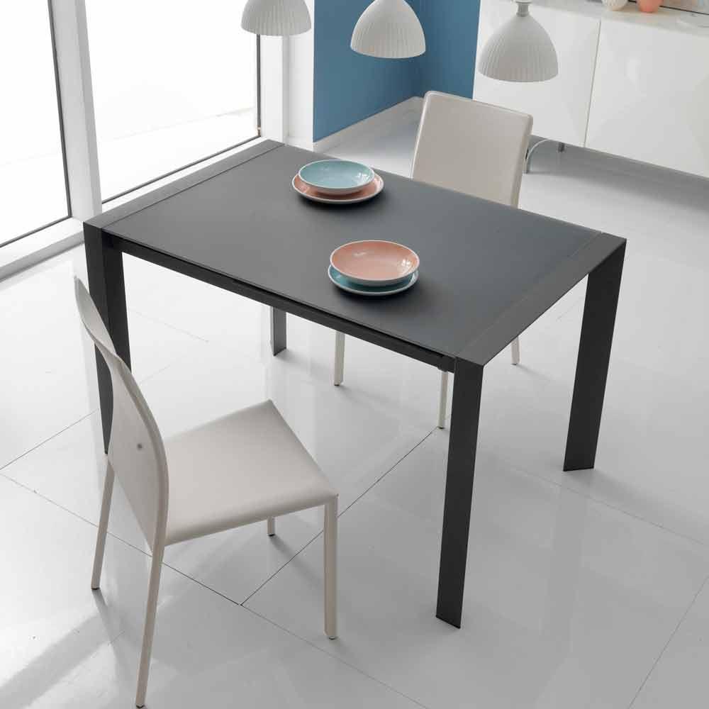 Tavolo da pranzo allungabile in vetro e metallo Oddo