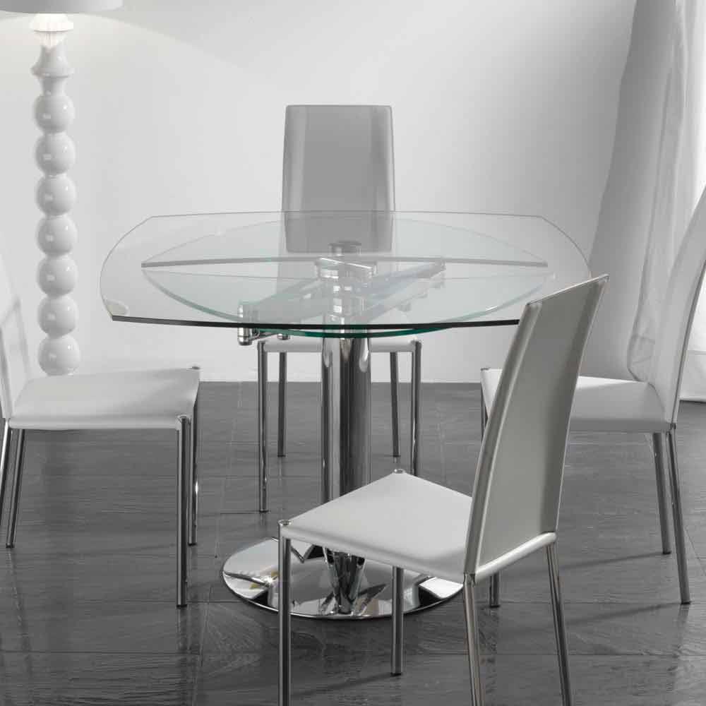 Tavolo da pranzo allungabile in vetro temperato