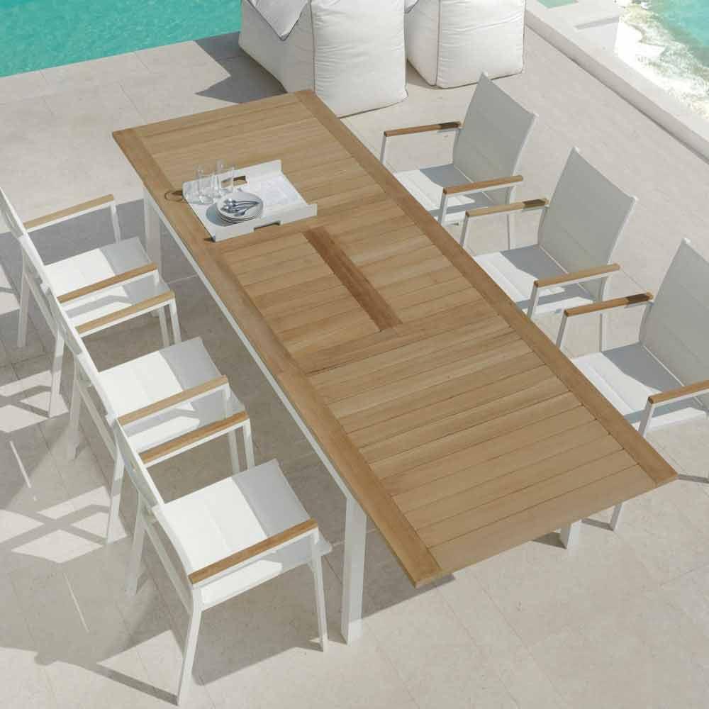 Tavolo da pranzo da giardino allungabile in legno di teak