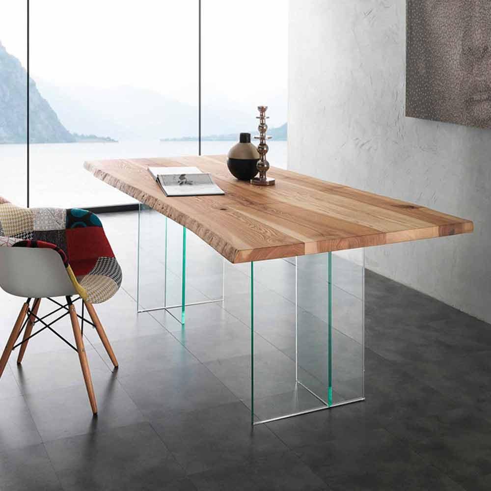 Tavolo da pranzo in legno massello e vetro Marlon
