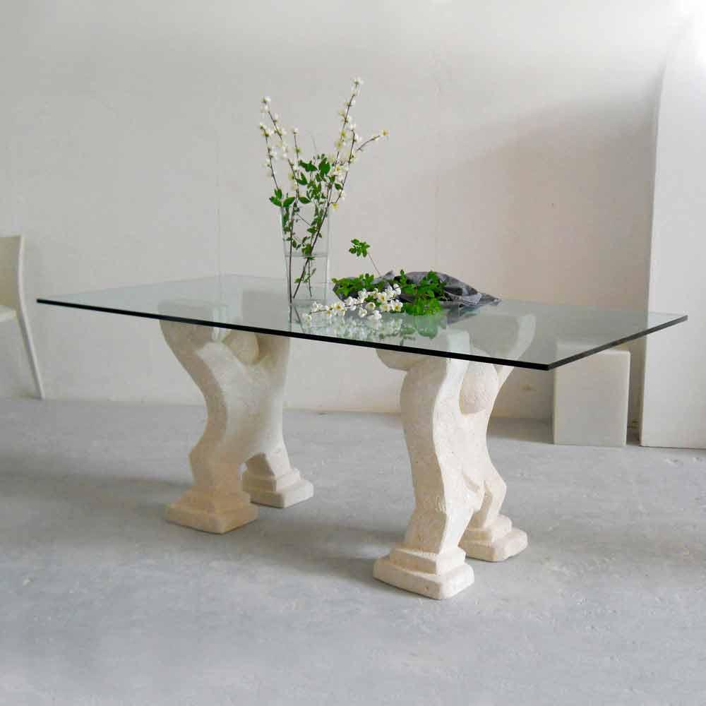 Tavolo in Pietra di Vicenza e cristallo Medusa scolpito a