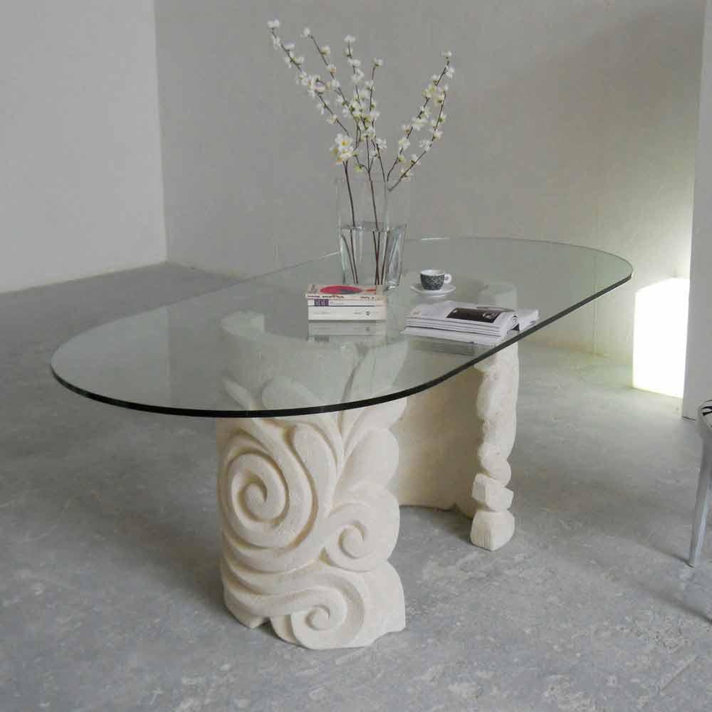 Tavolo ovale in Pietra di Vicenza e cristallo Aden