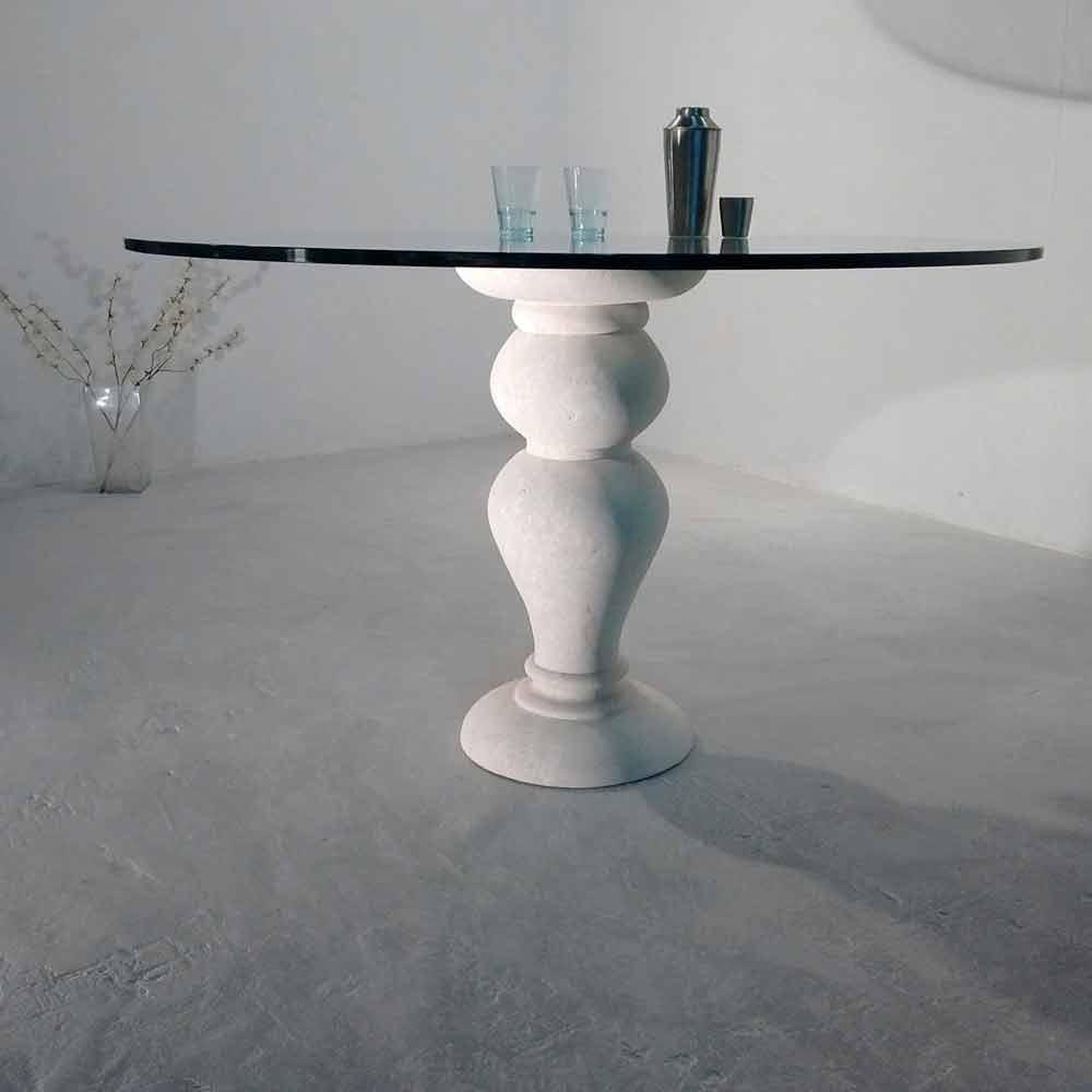 Tavolo rotondo in Pietra di Vicenza e cristallo Edipo scolpito a mano