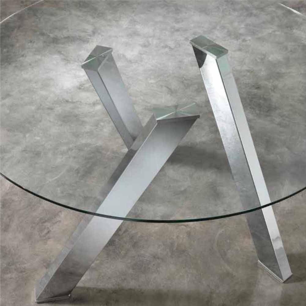 Tavolo da pranzo tondo con top in vetro Adamo design moderno