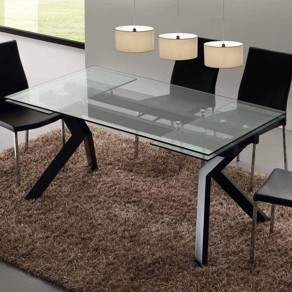 Tavolo di design allungabile in metallo e vetro temperato Mesa