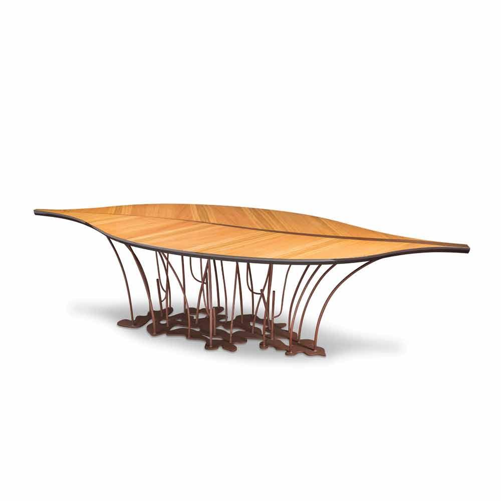 Tavolo di design impiallacciato rovere e legno di noce Fenice
