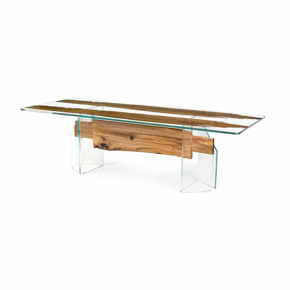 Tavolo di design in legno di briccola veneziana e vetro