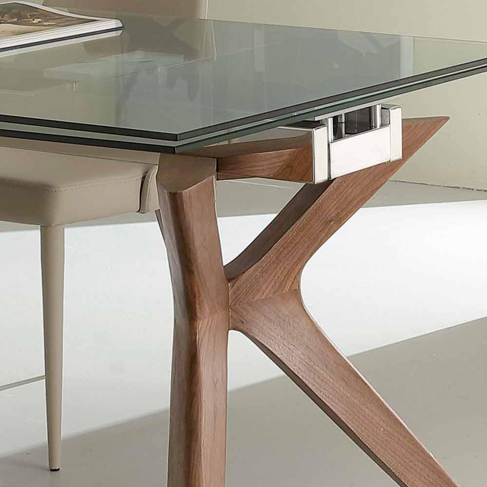 Tavolo moderno allungabile in acciaio inox e vetro