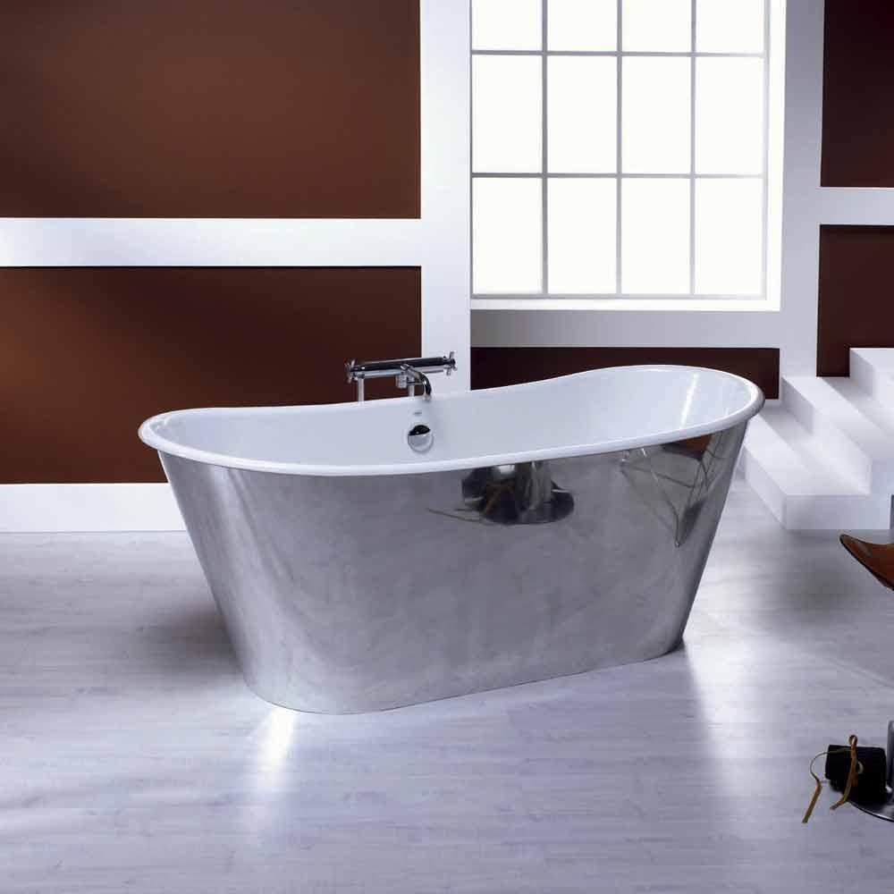 Vasca da bagno freestanding in ghisa placcata alluminio Ida