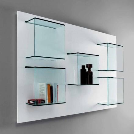 Mensola di vetro colorato disponibile in colore blu, arancio, verde e marrone. Libreria A Muro In Legno E Vetro Orizzontale O Verticale