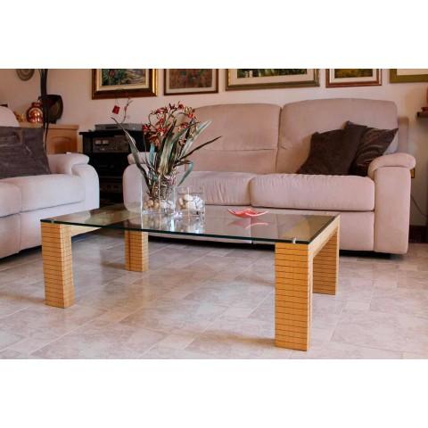 Tavolino flam rotondo vetro nero acciaio oro salotto design moderno. Tavolino In Cristallo E Legno Da Salotto Moderno Made In Italy
