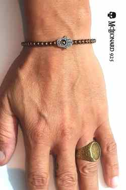 Bracciale Pietra Ematite Bronzata Cubica