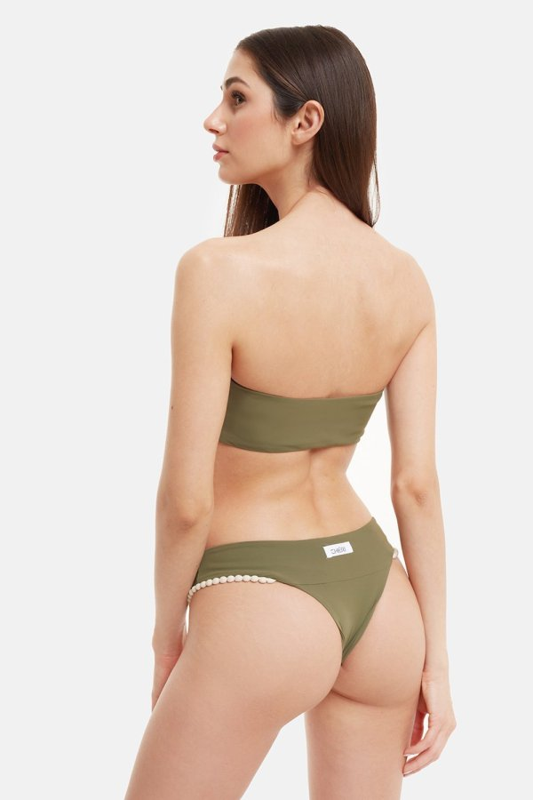 Costume Edie Bikini Monospalla Verde Pompon Beige